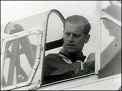Duke of Edinburgh in his Harvard aircraft