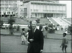 BBC reporter Lionel Fleming outside the OAU headquarters in Addis Ababa