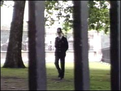 Photograph of a police officer patrolling the grounds of Buckingham Palace