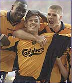 Michael Owen celebrates scoring in the Cup final