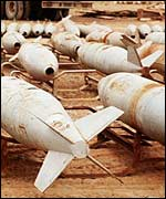 Chemical warfare bombs waiting to be destroyed