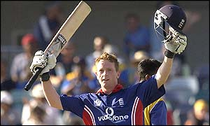Durham and England all-rounder Paul Collingwood celebrates his first ever one-day international century