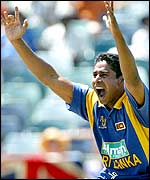 Chaminda Vaas appeals successfully for the wicket of Ronnie Irani