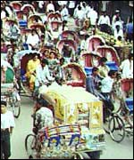 Cycle rickshaws in Dhaka