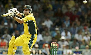 Lehmann strikes the ball during his innings of 119 runs from 119 balls