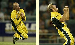 Australia's Darren Lehmann spills a catch and Shane Watson celebrates a wicket