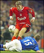 Steven Gerrard goes in hard on Everton's Gary Naysmith