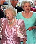 The Queen and late Queen Mother, on the Queen Mother's 101st birthday in August 2001