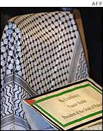 Empty Chair with a placard bearing Yasser Arafat's name