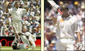 Andrew Caddick crashes a delivery against Matthew Hayden's knee but it does not inhibit his performance