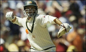 Justin Langer brings up his century shortly after the dismissal of Hayden