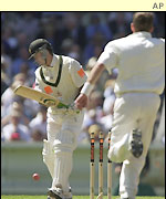 Ricky Ponting is dismissed