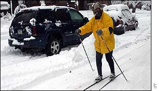 Man skis down a street in Wilkes-Barre, Pennsylvania