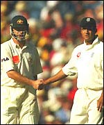 Waugh and Butcher shake hands