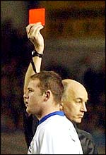 Referee Elleray shows Rooney the red card
