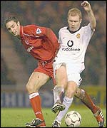 Man Utd's Paul Scholes and Boro's Mark Wilson