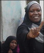A voter in Mombasa
