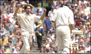 Jason Gillespie celebrates taking Steve Harmison's wicket
