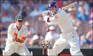 Michael Vaughan smashes the ball to the boundary as England follow on