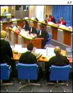 The United Nations war crimes tribunal in The Hague, The Netherlands