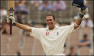 Michael Vaughan celebrates his stunning hundred