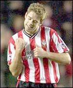 James Beattie celebrates his goal against Sunderland