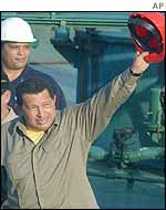 President Chavez receiving the first foreign shipment of petrol on Saturday