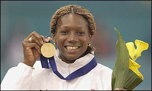 Triple jumper Ashia Hansen holds her gold medal at the European Championships