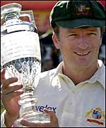 Steve Waugh holds the trophy at The Oval