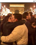 Revellers in the Champs-Elysees