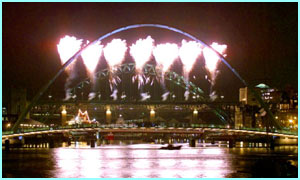 Fireworks over the Tyne bridge in Newcastle