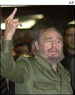Fidel Castro arriving at hotel in Brasilia