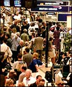 Heathrow crowded terminal
