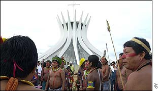 Native Brazilians from the south outside Brasilia cathedral