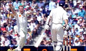 Australian bowler Brett Lee celebrates after taking the wicket of England opener Michael Vaughan