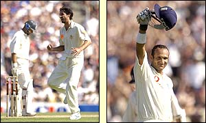 Nasser Hussain walks thanks to the bowling of Australia's Jason Gillespie but soon after Mark Butcher reaches his sixth Test century