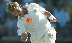 Brett Lee celebrates dismissing Mark Butcher