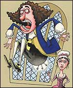 A young woman threatened to stick pins in Pepys if he didn't stop groping her, illustration by Simon Cooper
