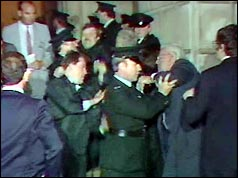Rev Ian Paisley is removed by police