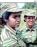 Tamil Tiger fighters in northern Sri Lanka