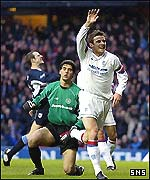 Barry Ferguson celebrates Rangers' first goal