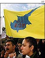 Turkish Cypriots demonstrate in favour of unification with the Greek part of the island