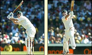 Australian captain Steve Waugh hits out on his way to a century at the SCG
