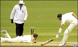 Australian wicketkeeper Adam Gilchrist stumps Matthew Hoggard to dismiss him for a duck
