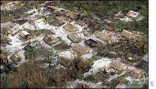 Aerial photograph of destroyed houses