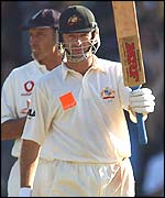 Waugh celebrates his 10,000th Test run