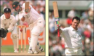 Steve Waugh drives and then acknowledges the crowd after his second century of the match in the third Test against England in 1997