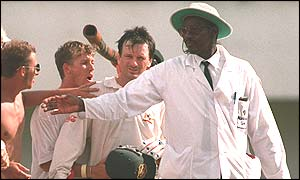 Steve Waugh (centre) is mobbed by fans in Jamaica after scoring 200 against the West Indies in 1995