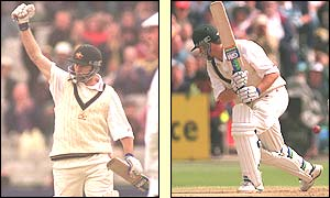 Steve Waugh celebrates his century in the first innings of the third Test against England in 1997 before being bowled