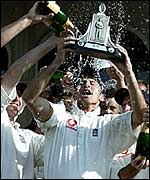 Nasser Hussain celebrating